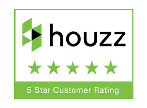 Houzz logo with 5 star customer rating